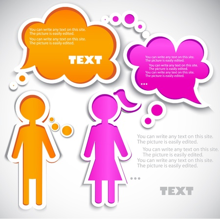 bubble speech: Male talking with female. Paper bubbles for  speech Illustration
