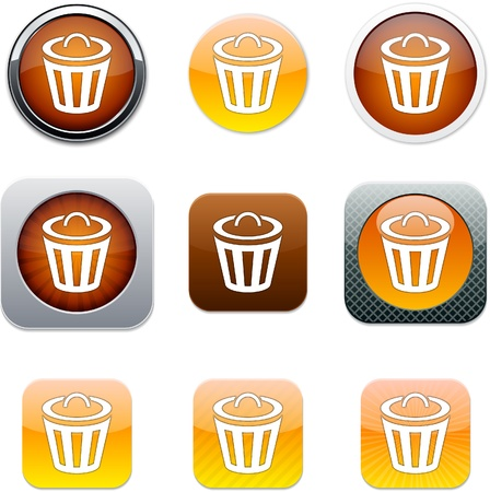 Dustbin Set of apps icons. Vector illustration. Vector
