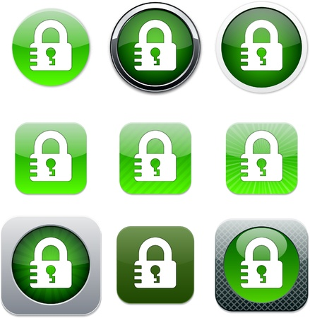 Lock Set of apps icons. Vector illustration. Stock Vector - 10039104
