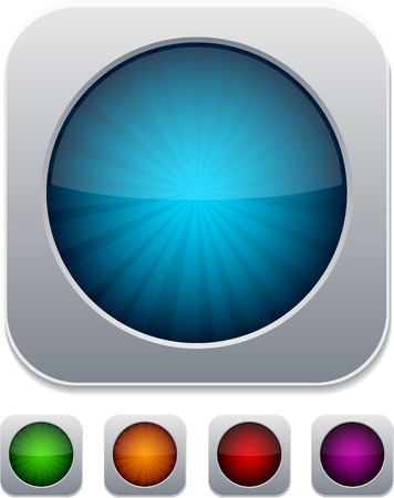 glossy buttons: Set of color modern icons. Vector illustration.