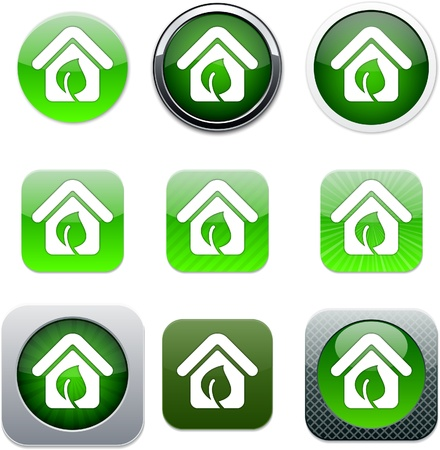 Green home Set of apps icons. Vector illustration. Stock Vector - 10039079