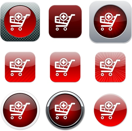 Agregar al carrito conjunto de iconos de aplicaciones. Ilustración vectorial. Ilustración de vector