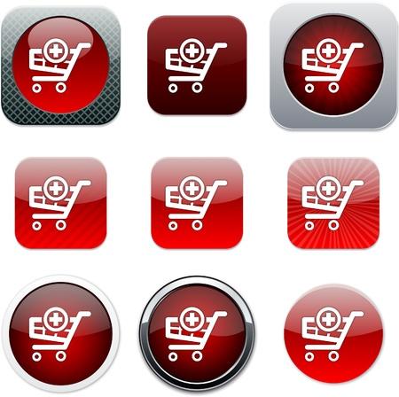 agregar: Agregar al carrito conjunto de iconos de aplicaciones. Ilustraci�n vectorial.