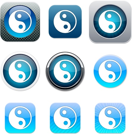 Ying yang Set of apps icons. Vector illustration.