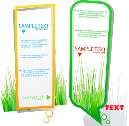 Colorful stickers for speech. Green grass. Natural background Vector