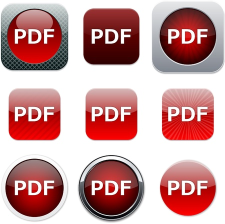 pdf: PDF Set of apps icons. Vector illustration. Illustration