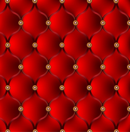 leather couch: Red upholstery.  Vector background