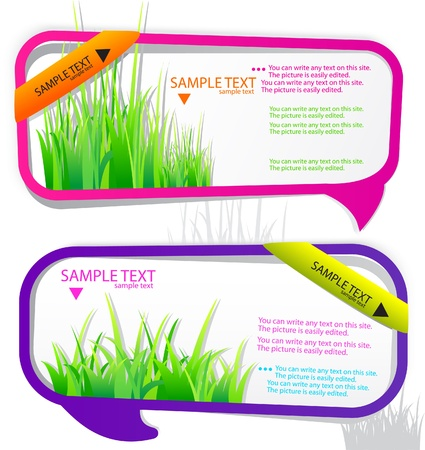 Colorful stickers for speech. Green grass. Natural background Illustration
