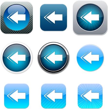 Freccia indietro Set di icone apps. Illustrazione vettoriale.