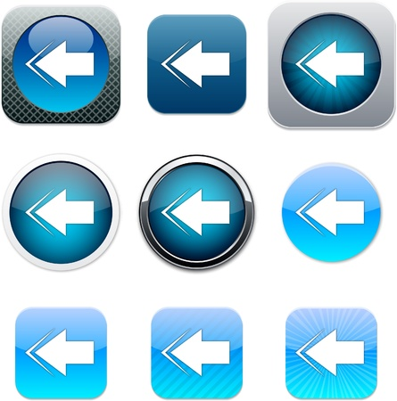 flecha azul: Flecha atr�s conjunto de iconos de aplicaciones. Ilustraci�n vectorial.