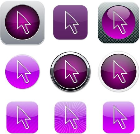 Pixel arrow Set of apps icons. Vector illustration. Vector