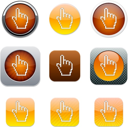 Pixel hand Set of apps icons. Vector illustration. Vector