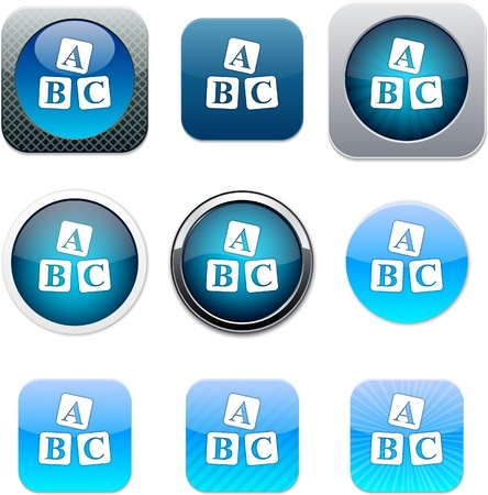 ABC cubes Set of apps icons. Vector illustration. Vector