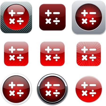 multiplicar: Calcular el conjunto de iconos de aplicaciones. Ilustración vectorial. Vectores