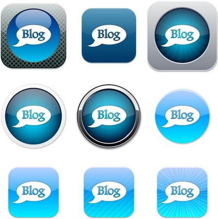 Blog Zestaw ikon aplikacji. Ilustracji wektorowych.