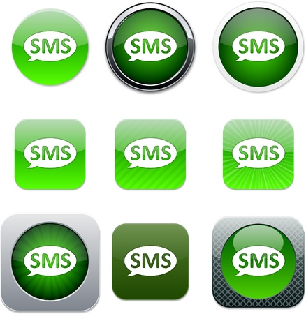SMS Set of apps icons. Vector illustration.