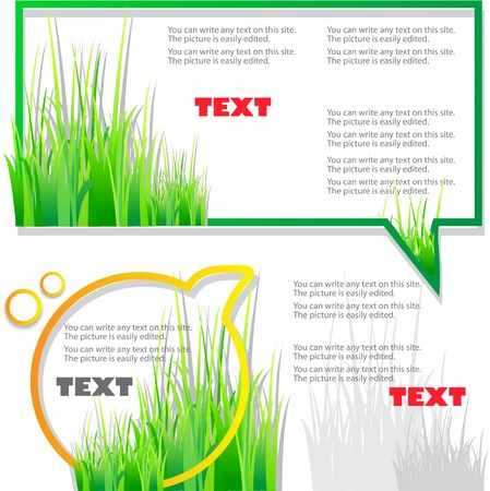 the sprouting: Colorful stickers for speech. Green grass. Natural background Illustration