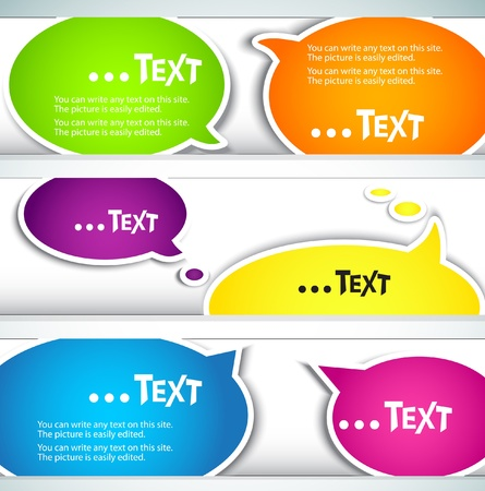 speech balloon: Colorful  bubble for speech. Set of banners