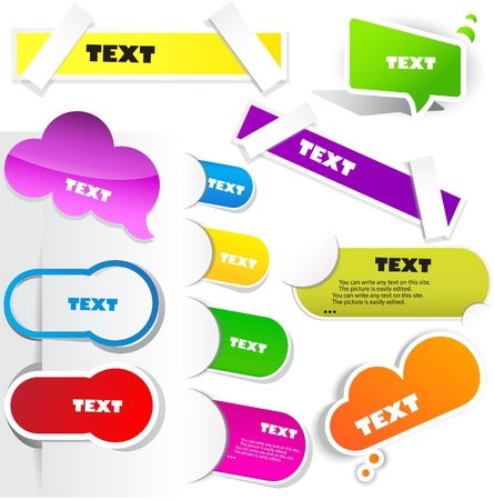 Colorful paper bookmarks. Vector set
