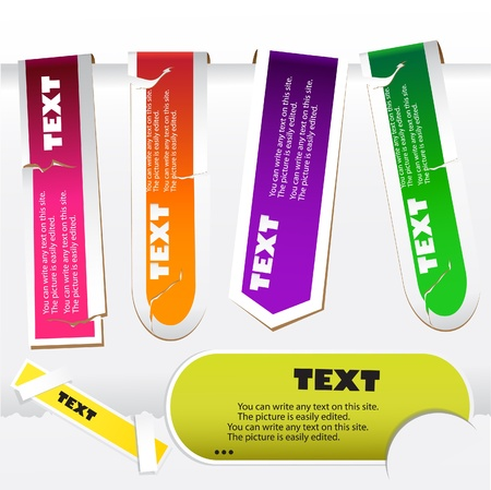 Colorful paper bookmarks. Vector set  Vector