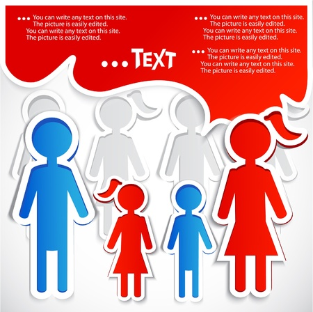 Family talking. Paper bubbles for  speech Vector
