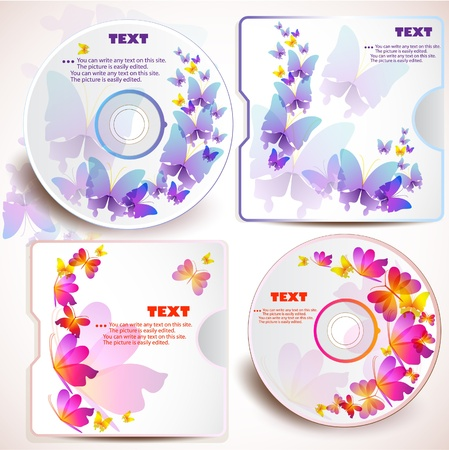 Cover design template of disk. Butterfly design Vector