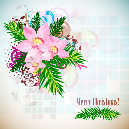 Elegant Christmas background with orchids. Vintage style  Vector