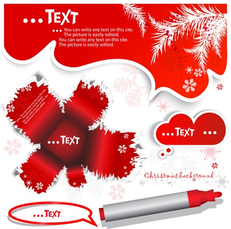 Red  bubble for speech. Christmas design Stock Vector - 10637886