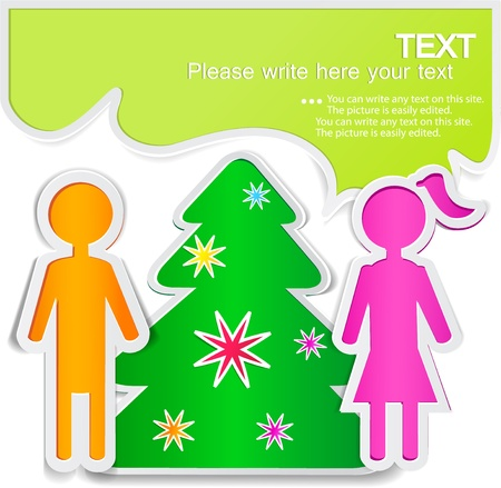 Male talking with female. New Year Stock Vector - 10755315