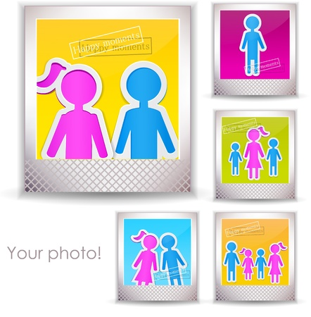 family picture: Colorful family photo  Illustration