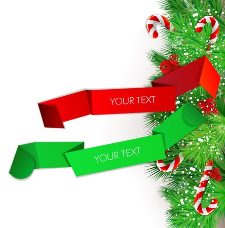Origami paper banners. Christmas design Vector