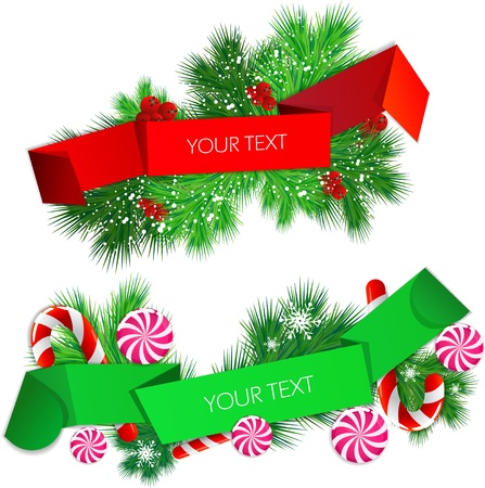 set of origami paper banners. Christmas design Vector