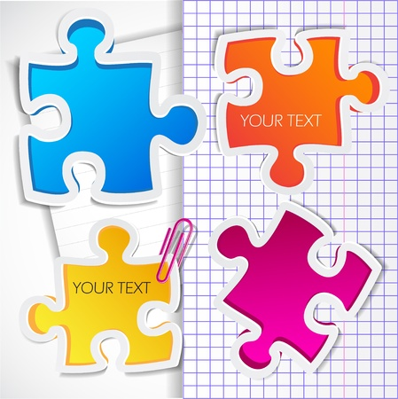 work piece: Colorful puzzles with space for text Illustration