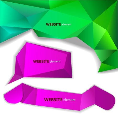 origami banner: Abstract origami paper banner. Website element