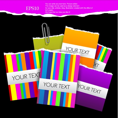 Colorful little notes on  black background with space for text Vector