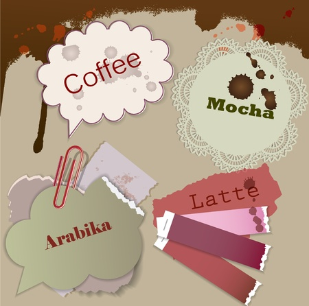 Little notes for speech. Coffee Stain Vector