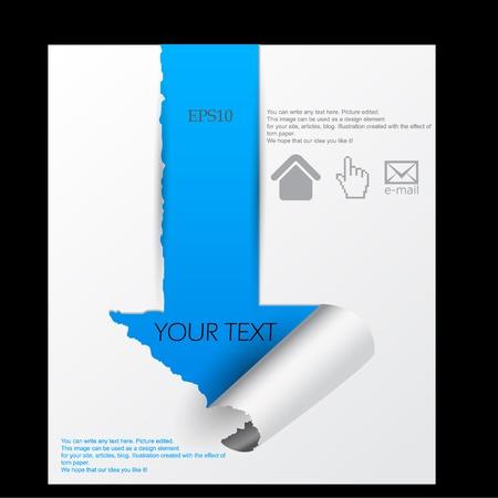 flecha azul: Flecha azul en la hoja de papel. El papel roto Vectores