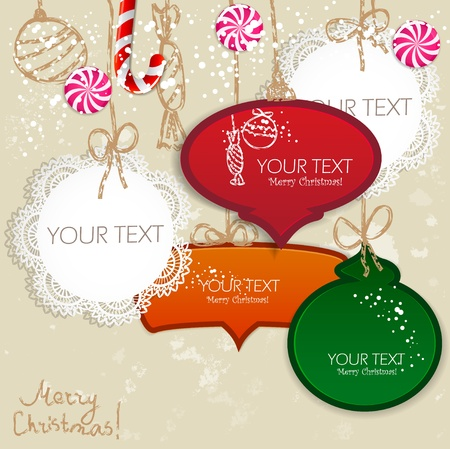 space for text: Colorful little notes with space for text. Christmas design