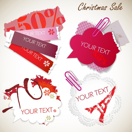 Christmas Sale. Colorful notes Vector