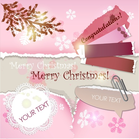 Colorful little notes with space for text. Christmas design Vector