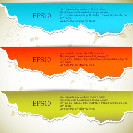 ecartel�: Banderoles en papier d�chir� avec espace pour le texte