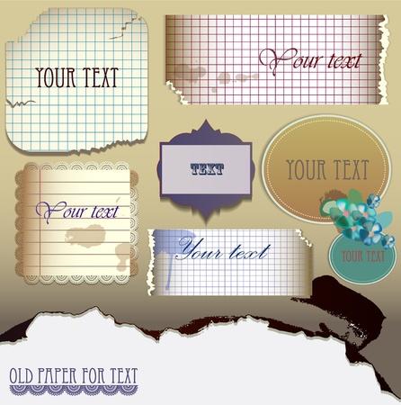Conjunto de vectores: el papel viejo para el texto. Ilustración vectorial