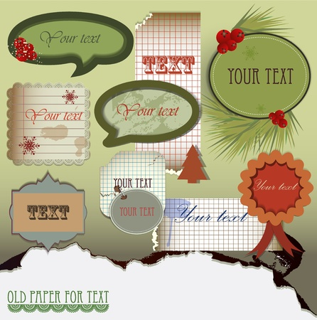 Vector set:  Old paper for text. Christmas design Vector
