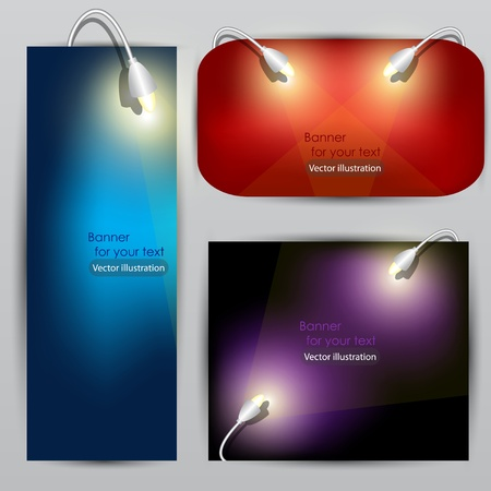 Empty placard for product advertising with lighting Vector