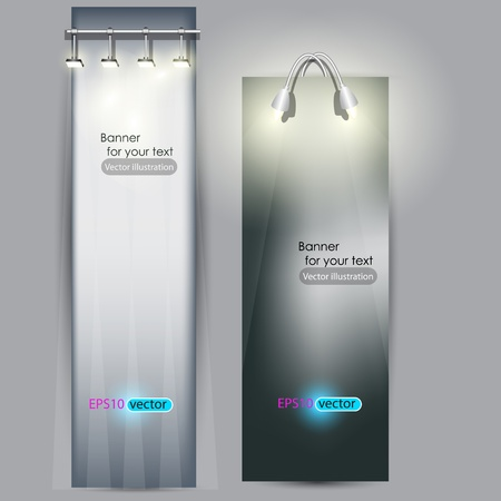 business exhibition: Empty placard for product advertising with lighting