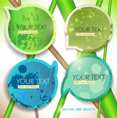 wellness environment: Bubbles for speech. Natural green background