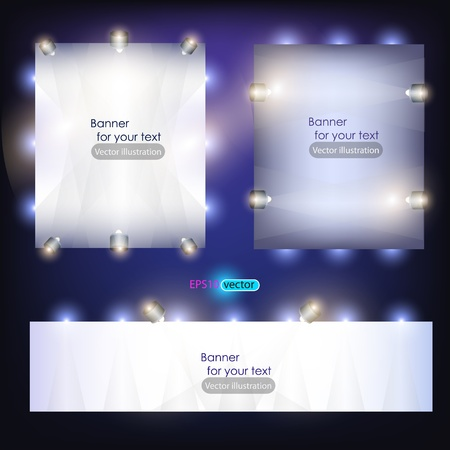 light show: Empty banner  for product advertising with lighting