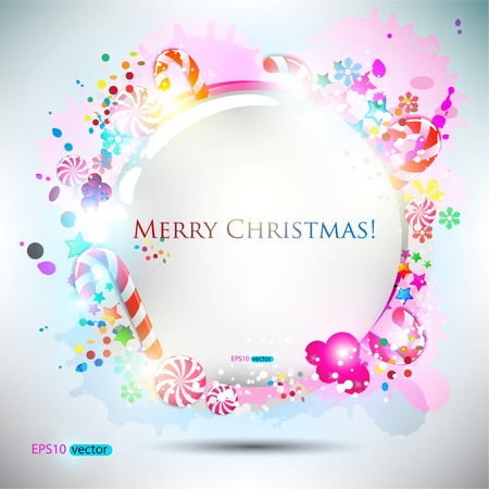 candy background: Abstract glossy speech bubble with Christmas candy. background Illustration