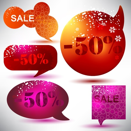 Christmas Sale. Glossy bubbles for speech Vector