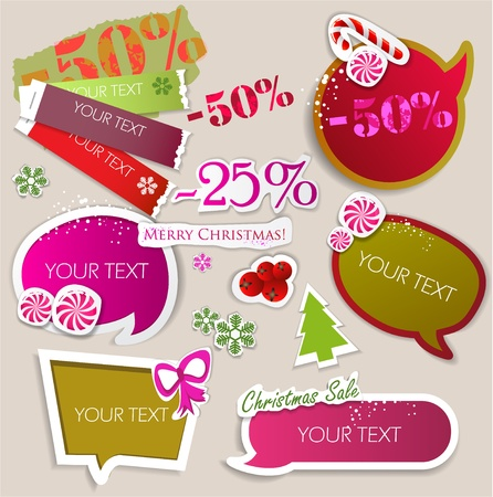 discount banner: Paper bubbles for speech. Christmas Sale